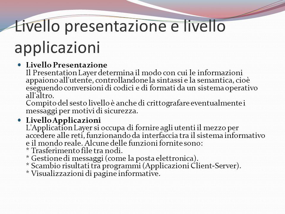 Livello presentazione e livello applicazioni Livello Presentazione Il Presentation Layer determina il modo con cui le informazioni appaiono all utente, controllandone la sintassi e la semantica, cioè eseguendo conversioni di codici e di formati da un sistema operativo all altro.