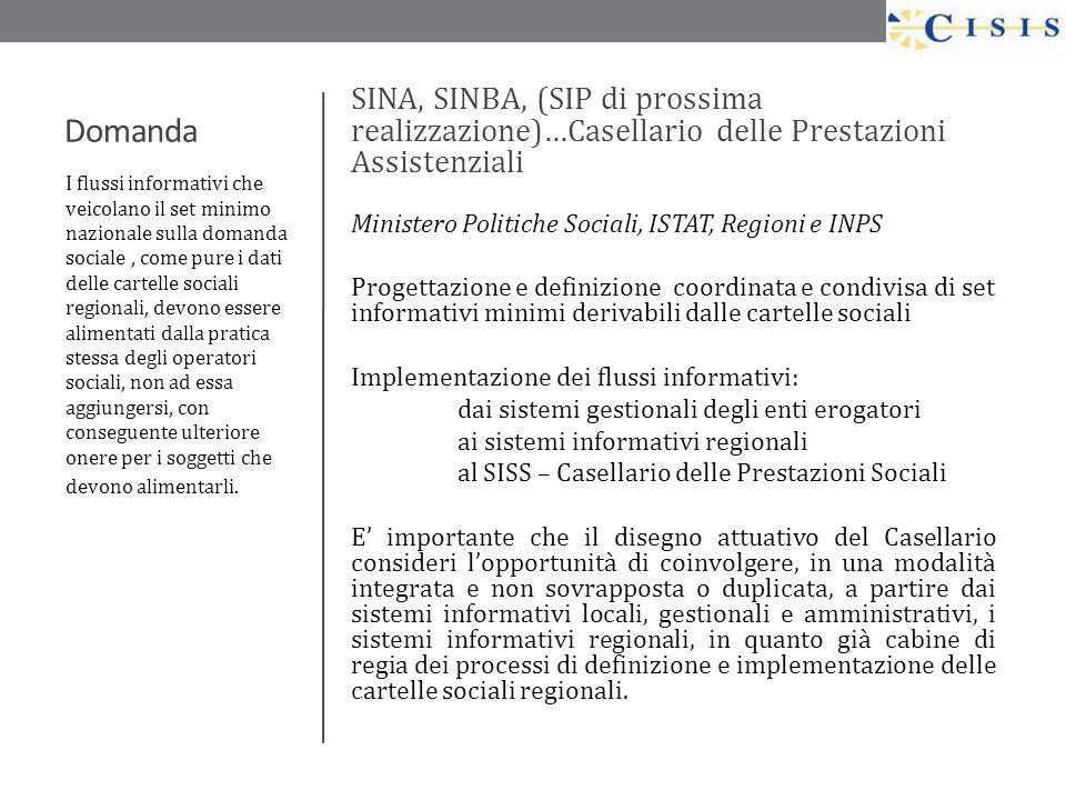 Domanda SINA, SINBA, (SIP di prossima realizzazione)…Casellario delle Prestazioni Assistenziali Ministero Politiche Sociali, ISTAT, Regioni e INPS Pro