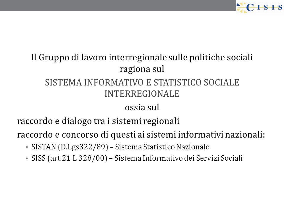 Il Gruppo di lavoro interregionale sulle politiche sociali ragiona sul SISTEMA INFORMATIVO E STATISTICO SOCIALE INTERREGIONALE ossia sul raccordo e di