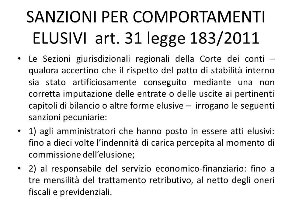 SANZIONI PER COMPORTAMENTI ELUSIVI art. 31 legge 183/2011 Le Sezioni giurisdizionali regionali della Corte dei conti – qualora accertino che il rispet