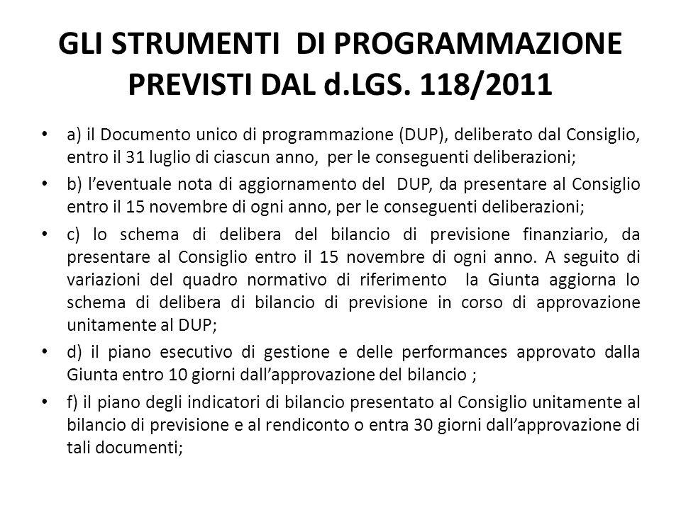 GLI STRUMENTI DI PROGRAMMAZIONE PREVISTI DAL d.LGS. 118/2011 a) il Documento unico di programmazione (DUP), deliberato dal Consiglio, entro il 31 lugl