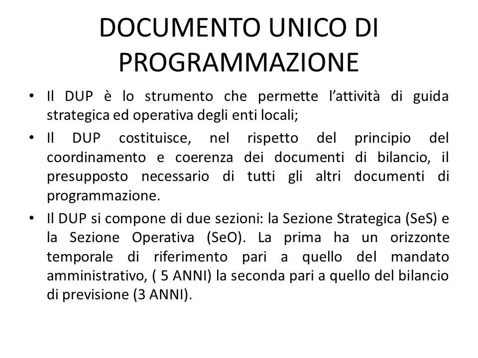 DOCUMENTO UNICO DI PROGRAMMAZIONE Il DUP è lo strumento che permette l'attività di guida strategica ed operativa degli enti locali; Il DUP costituisce