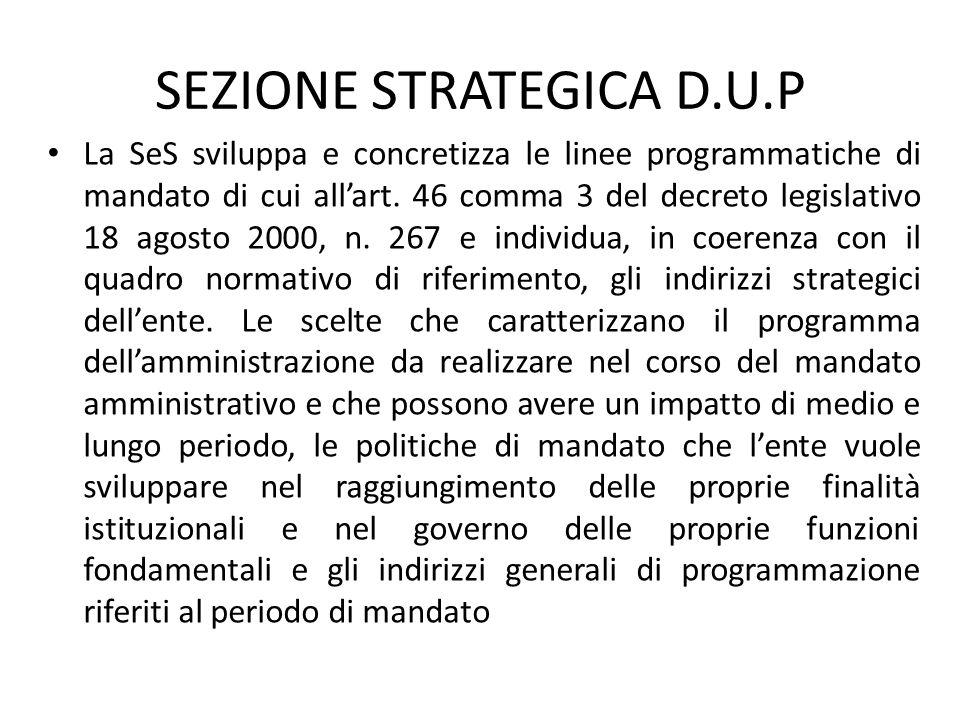 SEZIONE STRATEGICA D.U.P La SeS sviluppa e concretizza le linee programmatiche di mandato di cui all'art. 46 comma 3 del decreto legislativo 18 agosto