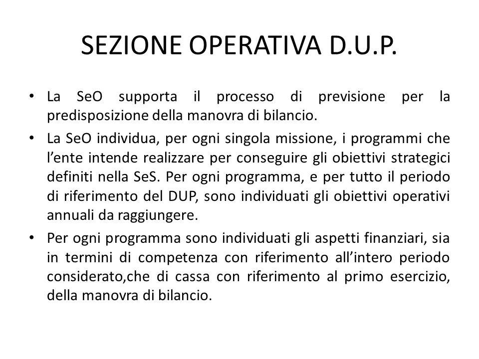 SEZIONE OPERATIVA D.U.P. La SeO supporta il processo di previsione per la predisposizione della manovra di bilancio. La SeO individua, per ogni singol
