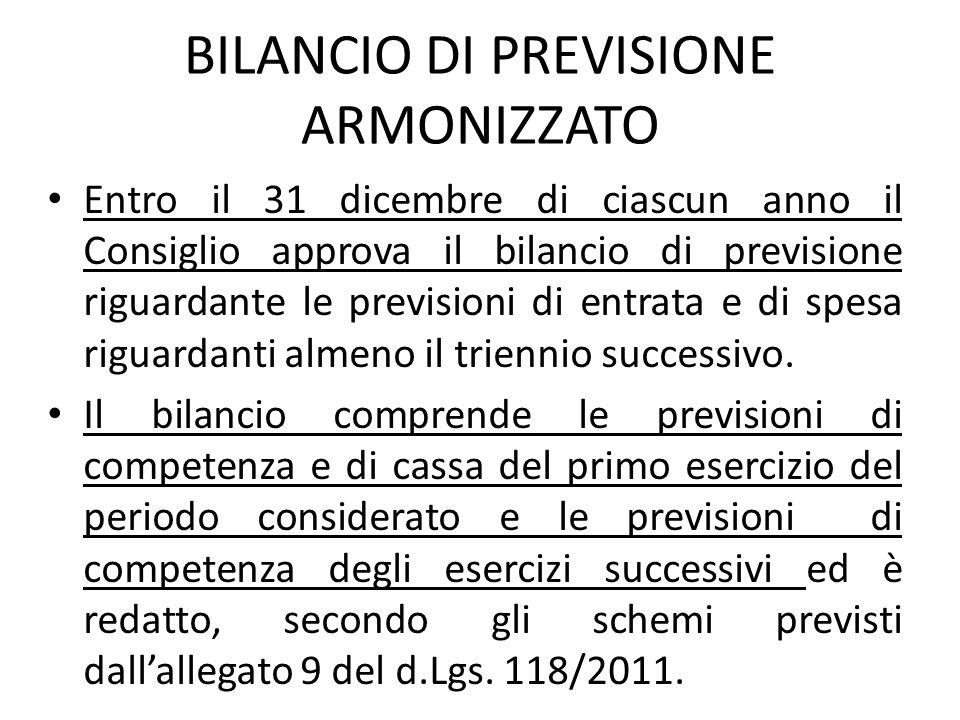 BILANCIO DI PREVISIONE ARMONIZZATO Entro il 31 dicembre di ciascun anno il Consiglio approva il bilancio di previsione riguardante le previsioni di en
