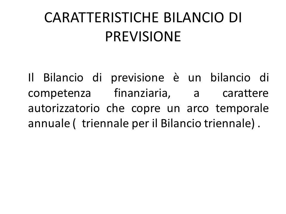 CARATTERISTICHE BILANCIO DI PREVISIONE Il Bilancio di previsione è un bilancio di competenza finanziaria, a carattere autorizzatorio che copre un arco