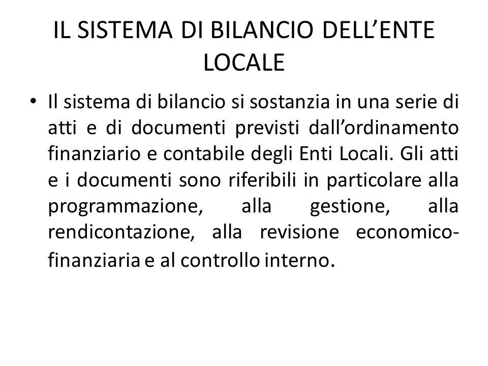 IL SISTEMA DI BILANCIO DELL'ENTE LOCALE Il sistema di bilancio si sostanzia in una serie di atti e di documenti previsti dall'ordinamento finanziario