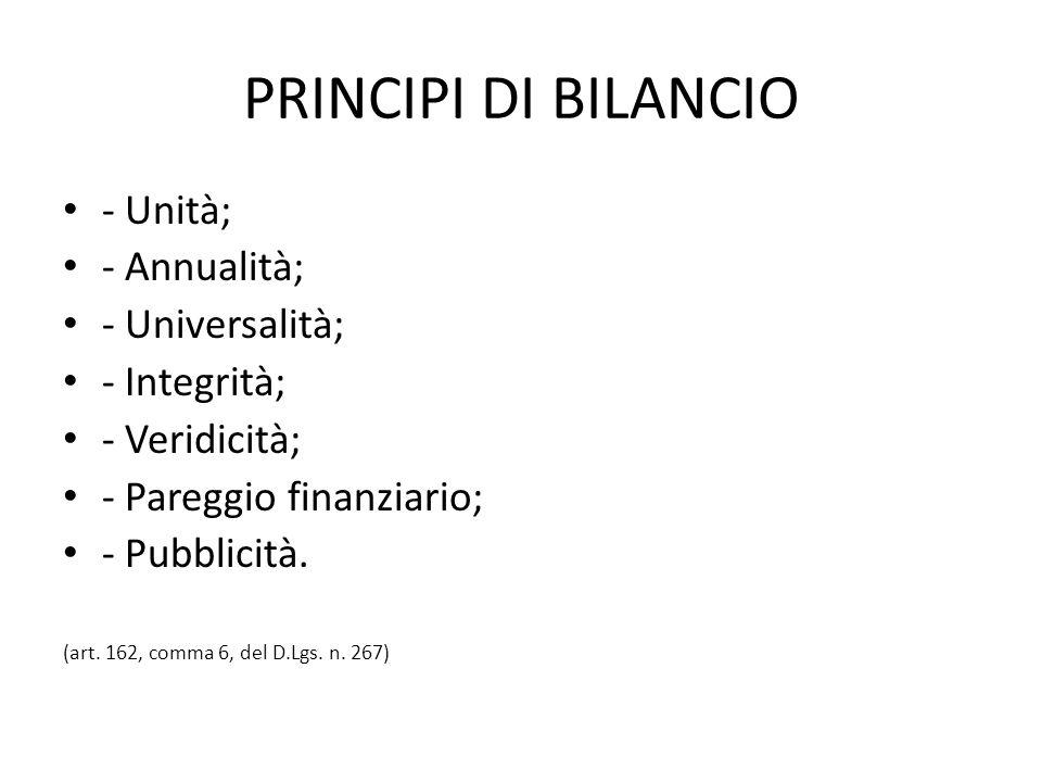 PRINCIPI DI BILANCIO - Unità; - Annualità; - Universalità; - Integrità; - Veridicità; - Pareggio finanziario; - Pubblicità. (art. 162, comma 6, del D.