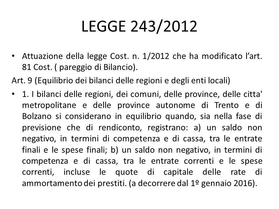 LEGGE 243/2012 Attuazione della legge Cost. n. 1/2012 che ha modificato l'art. 81 Cost. ( pareggio di Bilancio). Art. 9 (Equilibrio dei bilanci delle