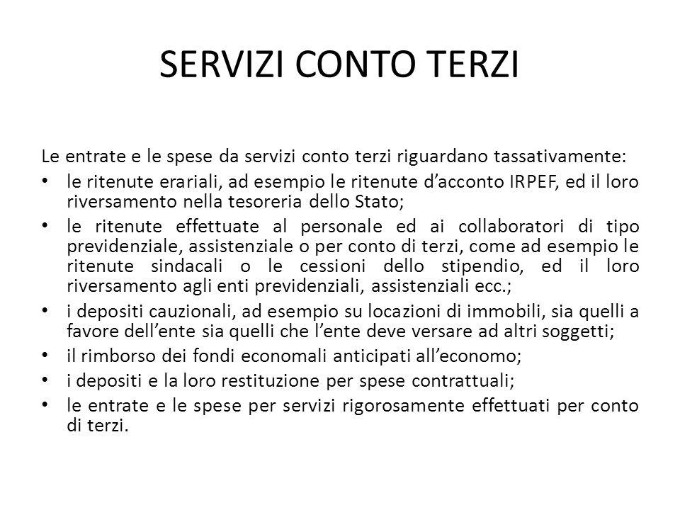 SERVIZI CONTO TERZI Le entrate e le spese da servizi conto terzi riguardano tassativamente: le ritenute erariali, ad esempio le ritenute d'acconto IRP
