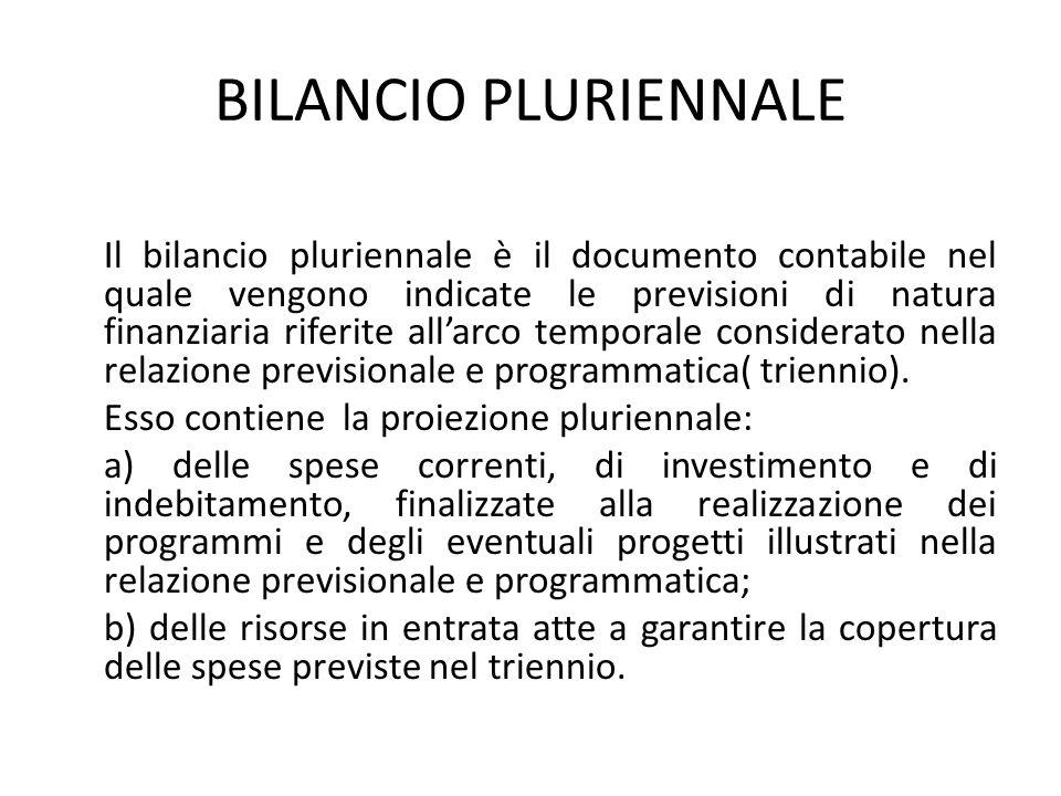 BILANCIO PLURIENNALE Il bilancio pluriennale è il documento contabile nel quale vengono indicate le previsioni di natura finanziaria riferite all'arco