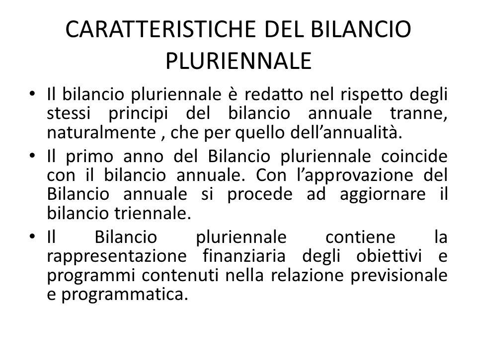 CARATTERISTICHE DEL BILANCIO PLURIENNALE Il bilancio pluriennale è redatto nel rispetto degli stessi principi del bilancio annuale tranne, naturalment