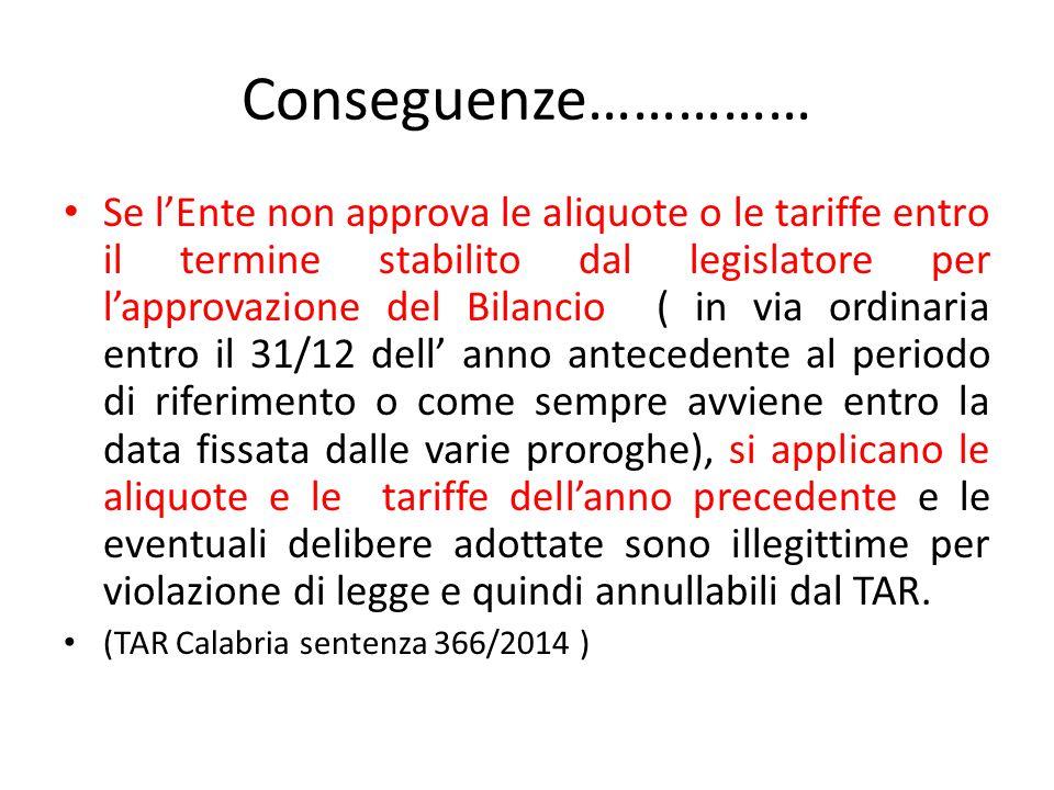 Conseguenze…………… Se l'Ente non approva le aliquote o le tariffe entro il termine stabilito dal legislatore per l'approvazione del Bilancio ( in via or