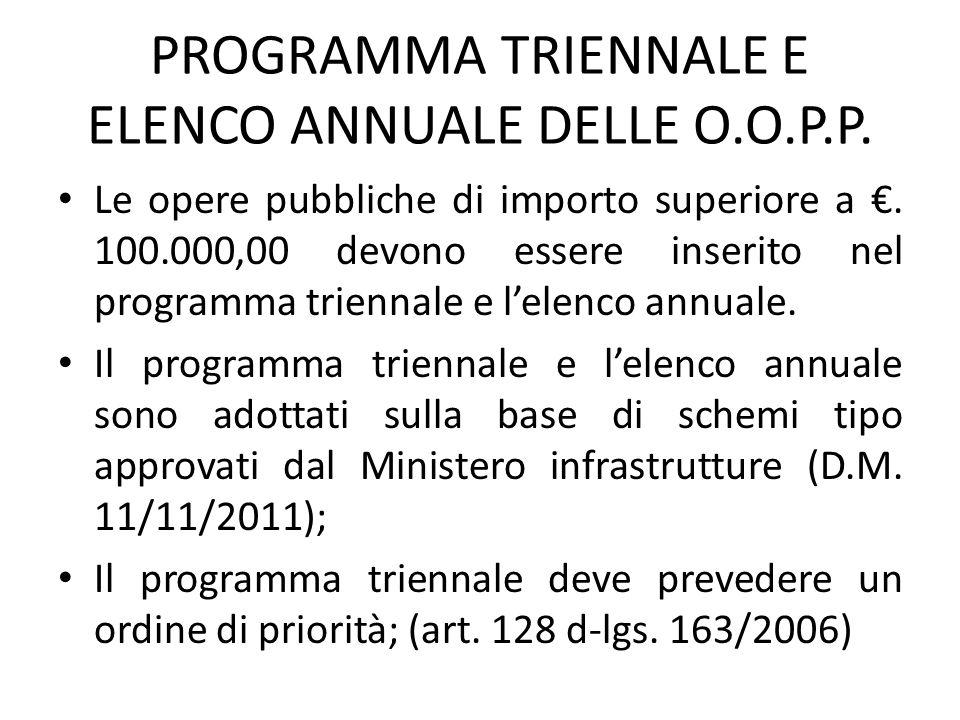 PROGRAMMA TRIENNALE E ELENCO ANNUALE DELLE O.O.P.P. Le opere pubbliche di importo superiore a €. 100.000,00 devono essere inserito nel programma trien