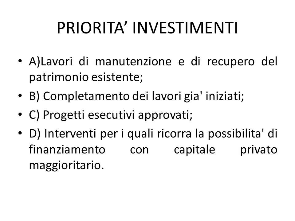 PRIORITA' INVESTIMENTI A)Lavori di manutenzione e di recupero del patrimonio esistente; B) Completamento dei lavori gia' iniziati; C) Progetti esecuti