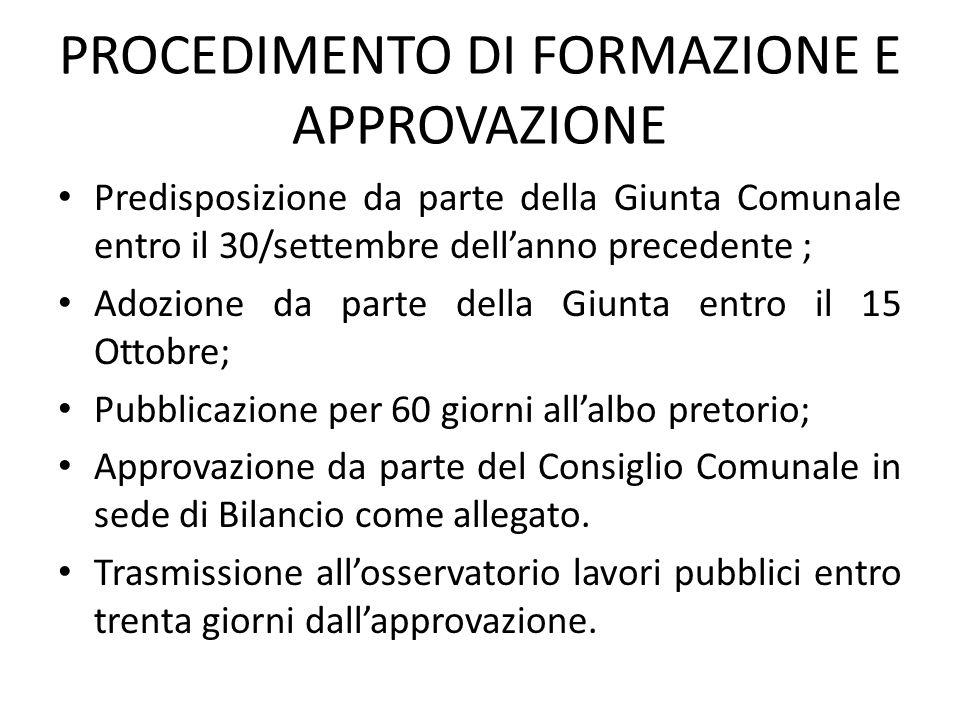 PROCEDIMENTO DI FORMAZIONE E APPROVAZIONE Predisposizione da parte della Giunta Comunale entro il 30/settembre dell'anno precedente ; Adozione da part