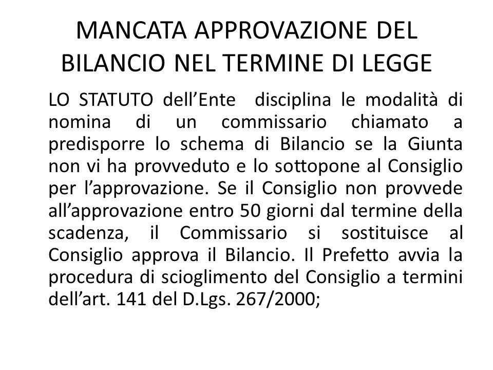 MANCATA APPROVAZIONE DEL BILANCIO NEL TERMINE DI LEGGE LO STATUTO dell'Ente disciplina le modalità di nomina di un commissario chiamato a predisporre