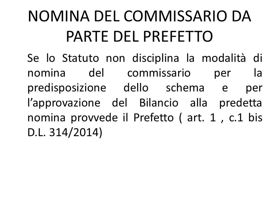 NOMINA DEL COMMISSARIO DA PARTE DEL PREFETTO Se lo Statuto non disciplina la modalità di nomina del commissario per la predisposizione dello schema e