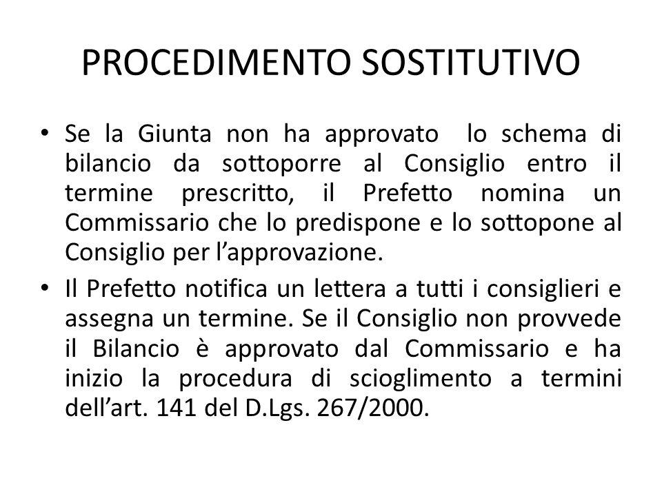 PROCEDIMENTO SOSTITUTIVO Se la Giunta non ha approvato lo schema di bilancio da sottoporre al Consiglio entro il termine prescritto, il Prefetto nomin