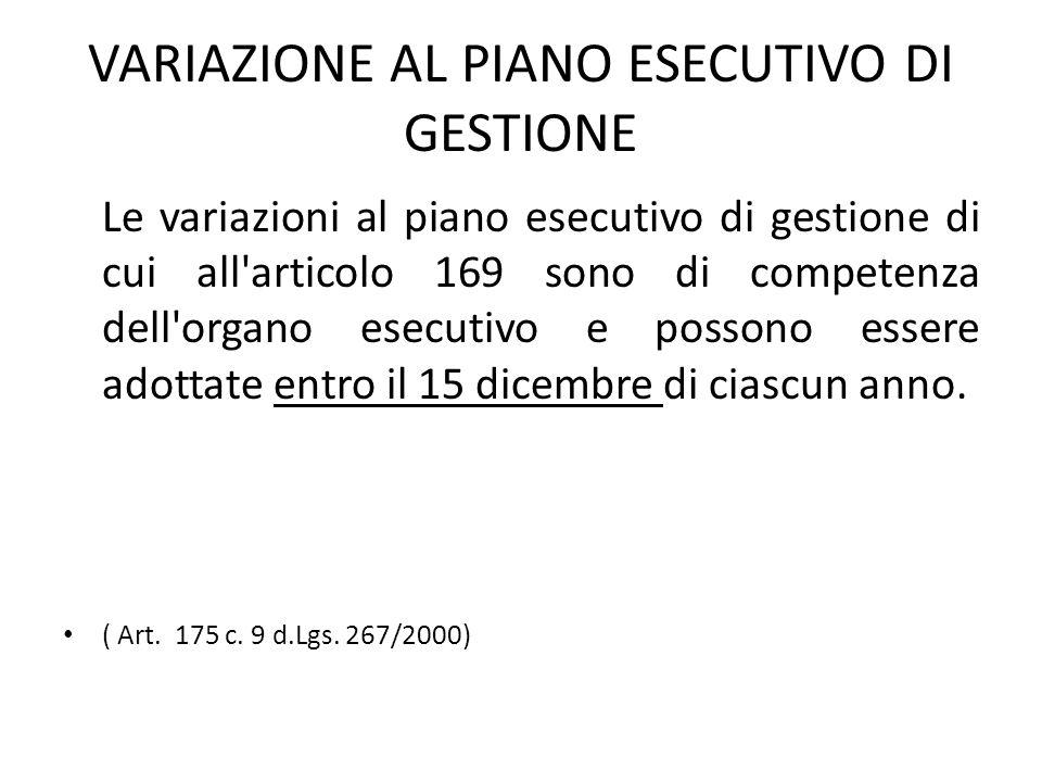 VARIAZIONE AL PIANO ESECUTIVO DI GESTIONE Le variazioni al piano esecutivo di gestione di cui all'articolo 169 sono di competenza dell'organo esecutiv