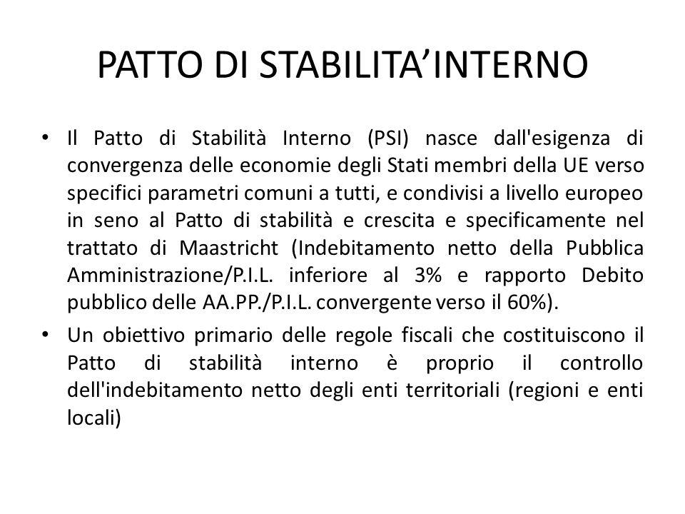 PATTO DI STABILITA'INTERNO Il Patto di Stabilità Interno (PSI) nasce dall'esigenza di convergenza delle economie degli Stati membri della UE verso spe