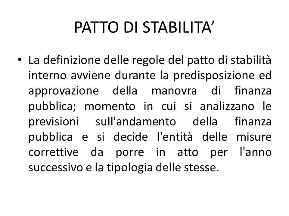 PATTO DI STABILITA' La definizione delle regole del patto di stabilità interno avviene durante la predisposizione ed approvazione della manovra di fin