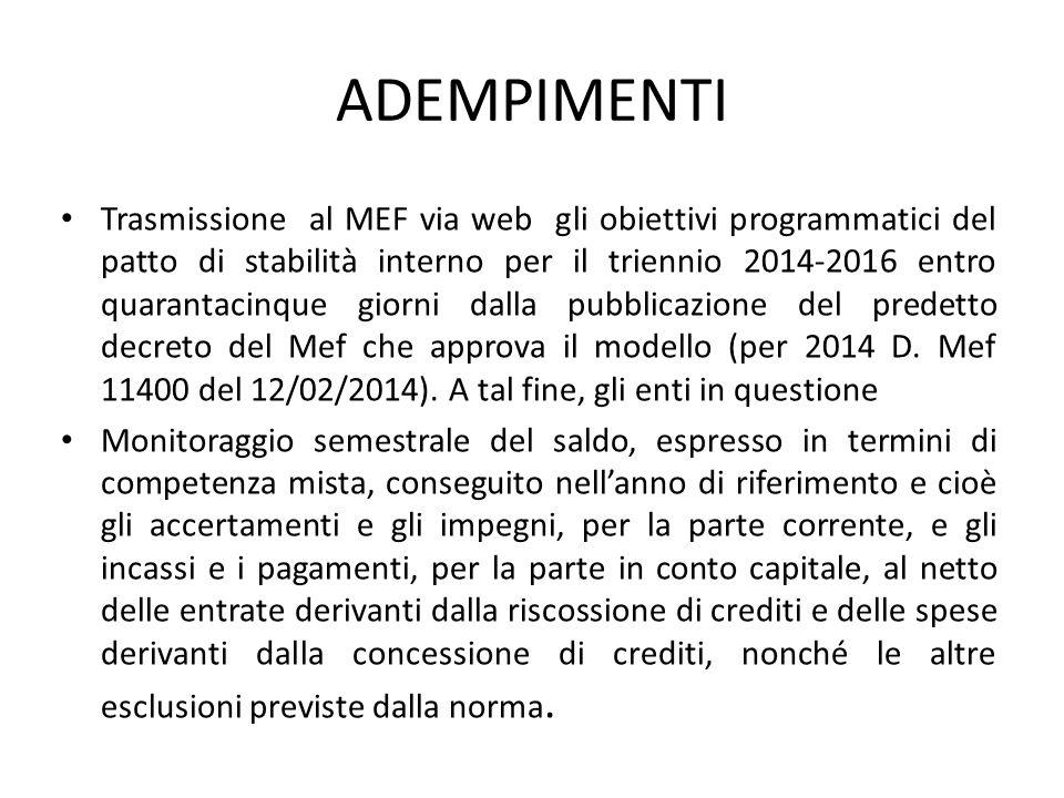 ADEMPIMENTI Trasmissione al MEF via web gli obiettivi programmatici del patto di stabilità interno per il triennio 2014-2016 entro quarantacinque gior