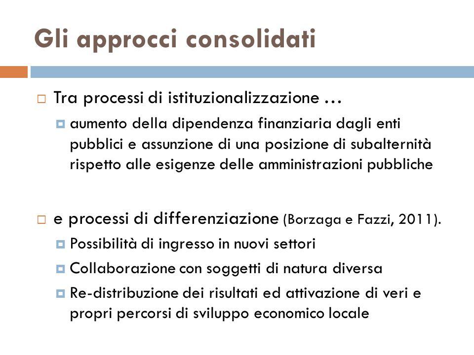 Gli approcci consolidati  Tra processi di istituzionalizzazione …  aumento della dipendenza finanziaria dagli enti pubblici e assunzione di una posizione di subalternità rispetto alle esigenze delle amministrazioni pubbliche  e processi di differenziazione (Borzaga e Fazzi, 2011).