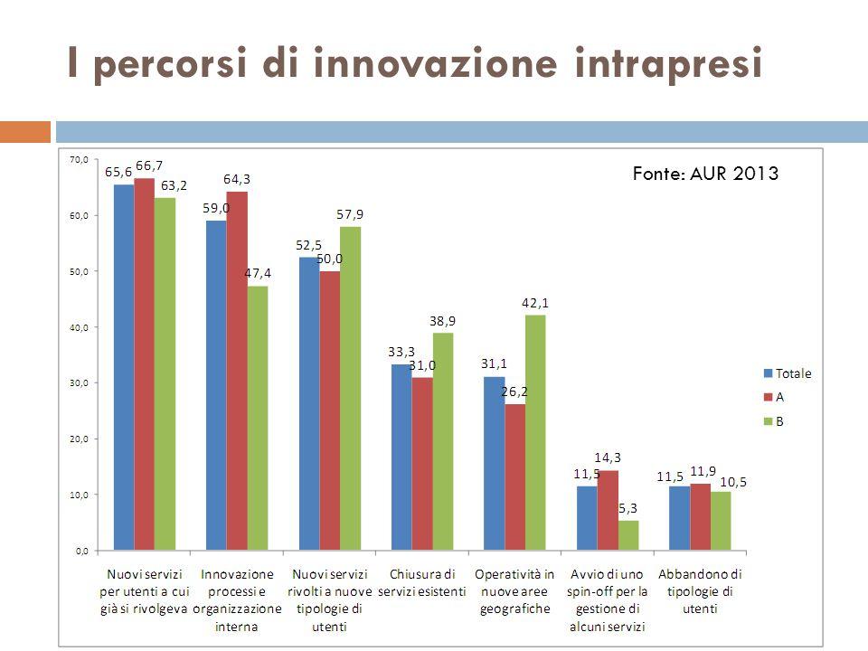 I percorsi di innovazione intrapresi Fonte: AUR 2013