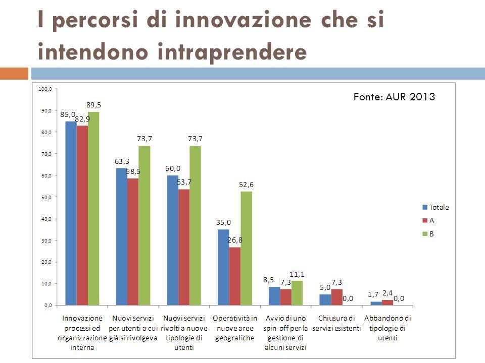 I percorsi di innovazione che si intendono intraprendere Fonte: AUR 2013