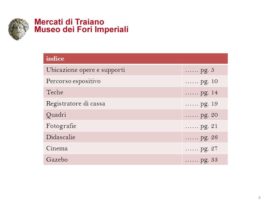 indice Ubicazione opere e supporti…… pg.5 Percorso espositivo…… pg.