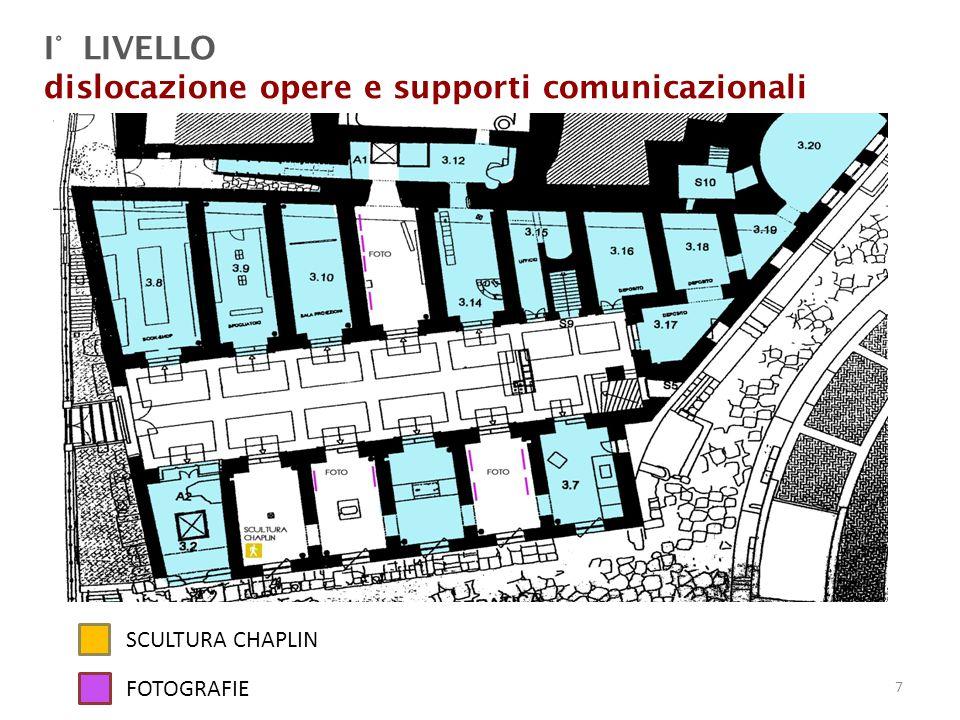 I° LIVELLO dislocazione opere e supporti comunicazionali SCULTURA CHAPLIN FOTOGRAFIE 7