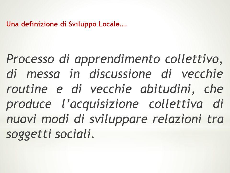 Una definizione di Sviluppo Locale…. Processo di apprendimento collettivo, di messa in discussione di vecchie routine e di vecchie abitudini, che prod