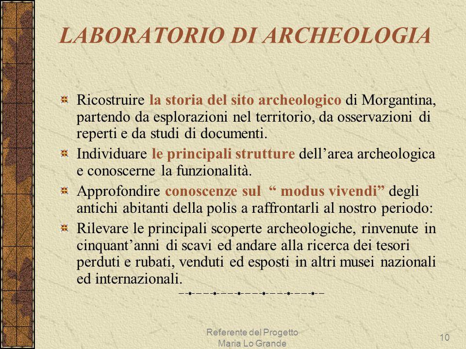 Referente del Progetto Maria Lo Grande 10 LABORATORIO DI ARCHEOLOGIA Ricostruire la storia del sito archeologico di Morgantina, partendo da esplorazio