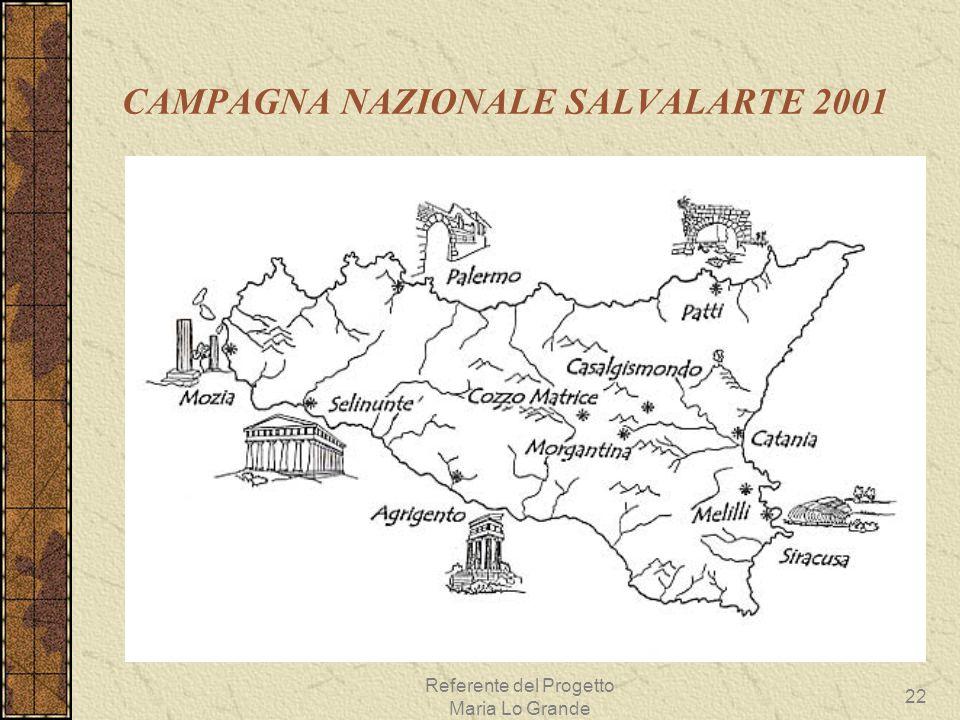 Referente del Progetto Maria Lo Grande 22 CAMPAGNA NAZIONALE SALVALARTE 2001