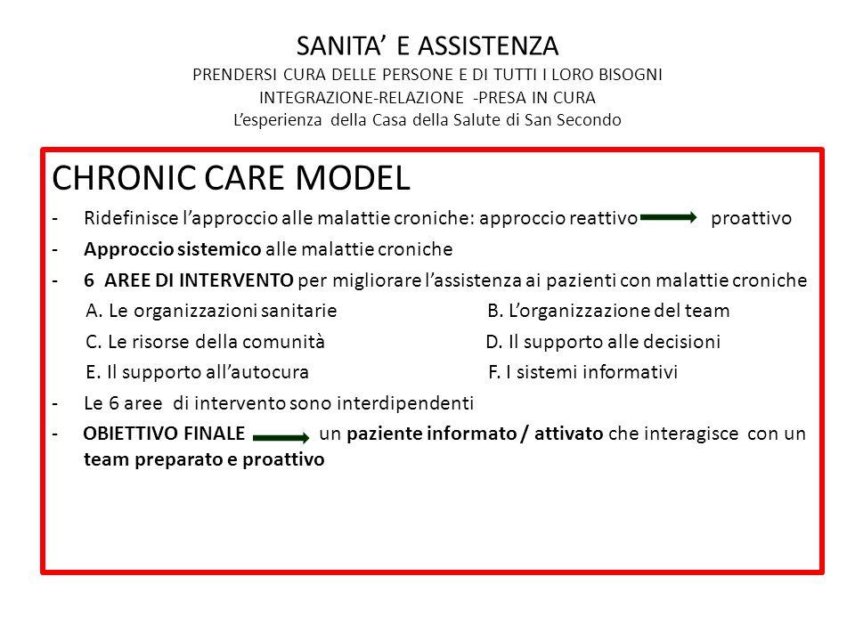 CHRONIC CARE MODEL -Ridefinisce l'approccio alle malattie croniche: approccio reattivo proattivo -Approccio sistemico alle malattie croniche -6 AREE D