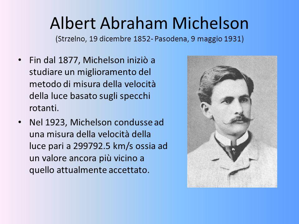 Albert Abraham Michelson (Strzelno, 19 dicembre 1852- Pasodena, 9 maggio 1931) Fin dal 1877, Michelson iniziò a studiare un miglioramento del metodo d