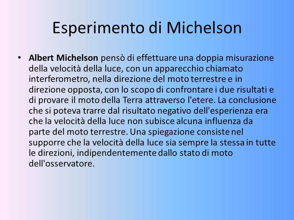 Esperimento di Michelson Albert Michelson pensò di effettuare una doppia misurazione della velocità della luce, con un apparecchio chiamato interferom