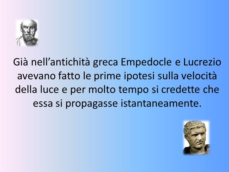 Già nell'antichità greca Empedocle e Lucrezio avevano fatto le prime ipotesi sulla velocità della luce e per molto tempo si credette che essa si propa