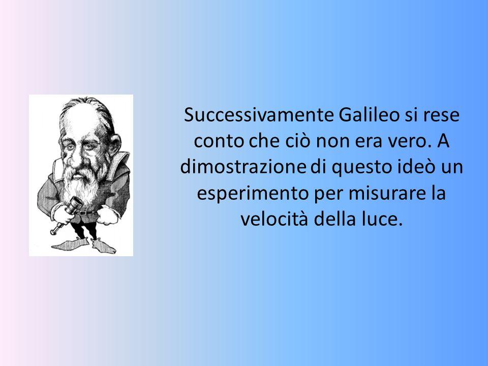 Successivamente Galileo si rese conto che ciò non era vero. A dimostrazione di questo ideò un esperimento per misurare la velocità della luce.