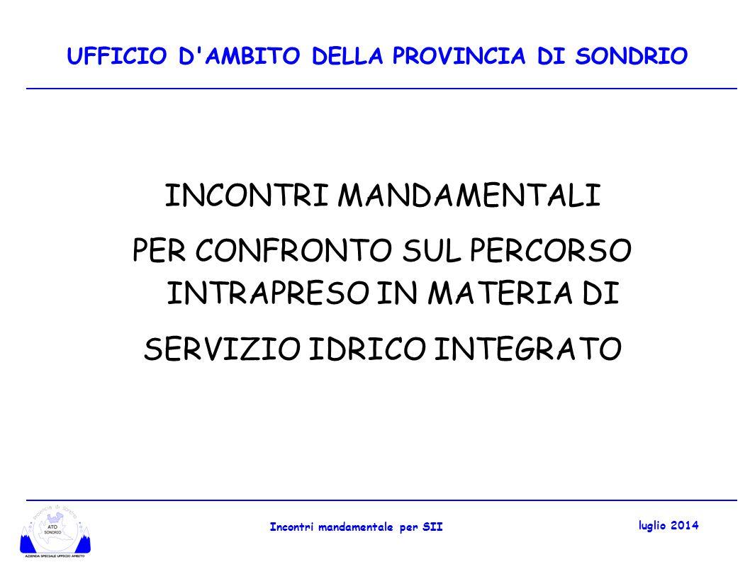 FOCUS ULTIMI 6 MESI Incontri mandamentali gennaio 2014 (quadro regolatorio....) Ufficio Ambito ha deliberato: Piano d Ambito (n.04 del 10.02.2014) Schema di Convenzione (n.06 del 19.02.2014) Conferenza dei Comuni ha espresso parere favorevole in data 05 marzo 2014 Consiglio Provinciale ha approvato i documenti in data 04 aprile 2014 (deliberazioni n.11 e n.12) Incontro mandamentale per SII luglio 2014