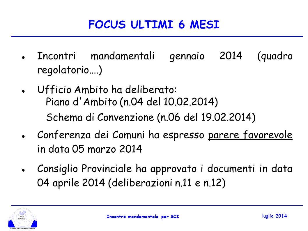 FOCUS ULTIMI 6 MESI In ossequio deliberaz.