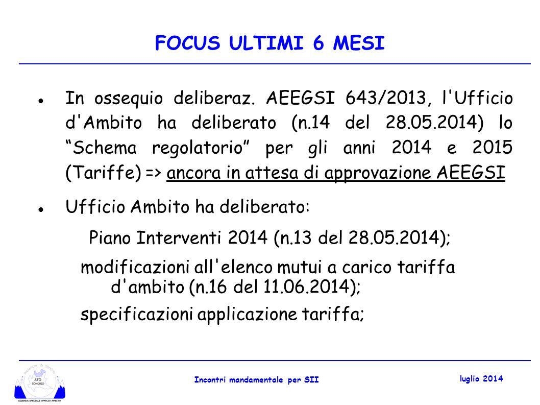 FOCUS ULTIMI 6 MESI Il 25 giugno 2014 Ufficio d Ambito e S.Ec.Am.
