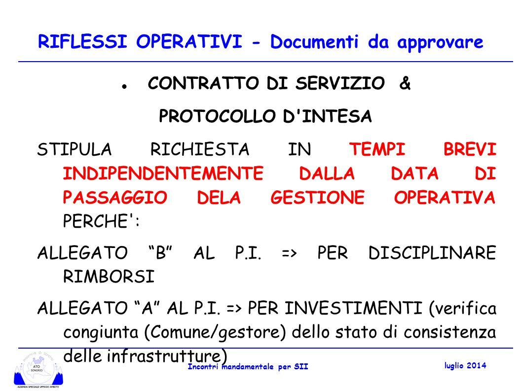 RIFLESSI OPERATIVI - Documenti da approvare CONTRATTO DI SERVIZIO & PROTOCOLLO D INTESA STIPULA RICHIESTA IN TEMPI BREVI INDIPENDENTEMENTE DALLA DATA DI PASSAGGIO DELA GESTIONE OPERATIVA PERCHE : ALLEGATO B AL P.I.