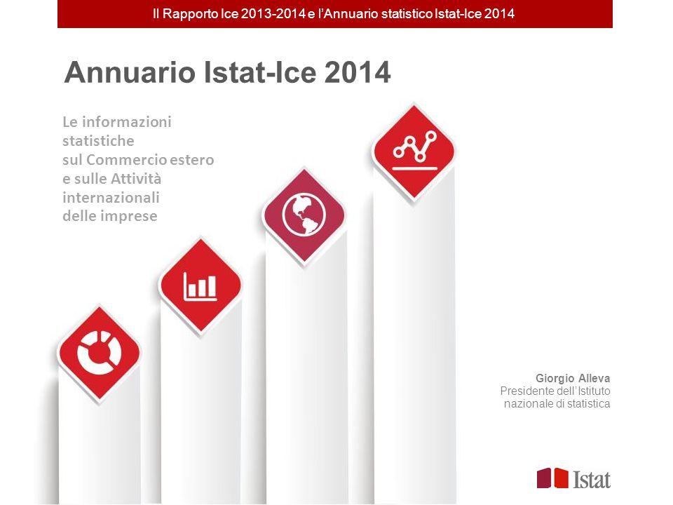 Annuario Istat-Ice 2014 Giorgio Alleva Presidente dell'Istituto nazionale di statistica Il Rapporto Ice 2013-2014 e l'Annuario statistico Istat-Ice 20