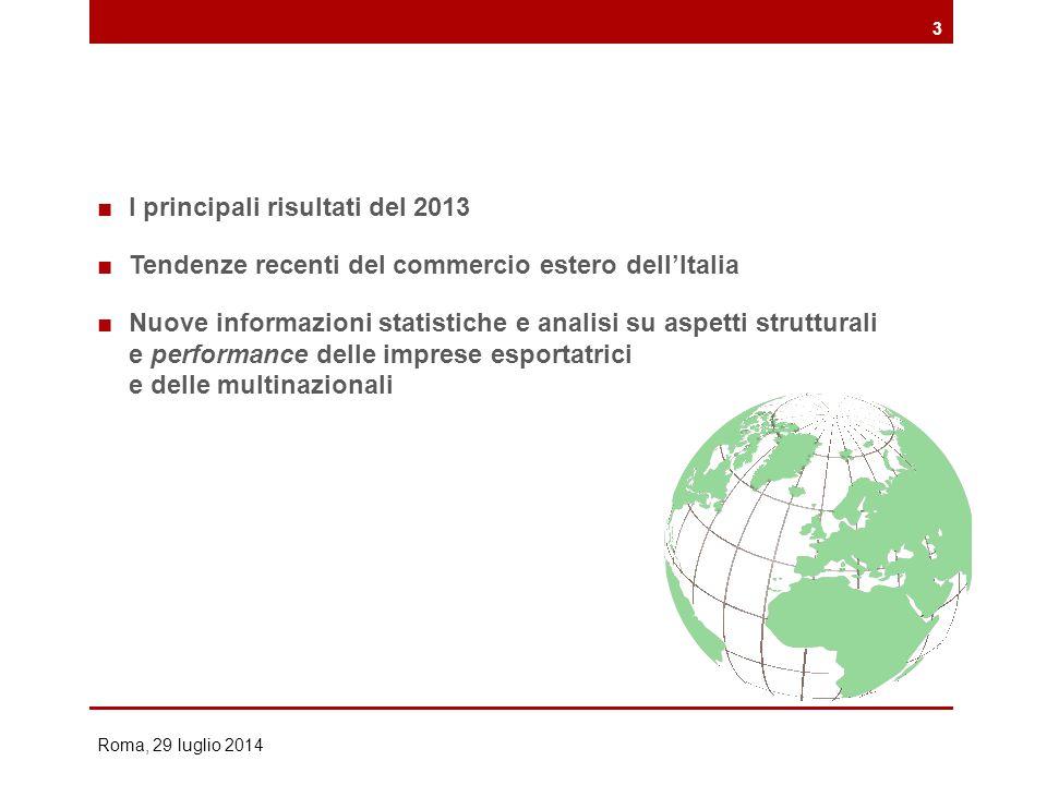 ■I principali risultati del 2013 ■Tendenze recenti del commercio estero dell'Italia ■Nuove informazioni statistiche e analisi su aspetti strutturali e performance delle imprese esportatrici e delle multinazionali Roma, 29 luglio 2014 3