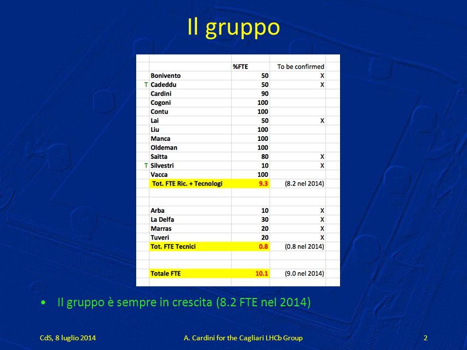 Il gruppo Il gruppo è sempre in crescita (8.2 FTE nel 2014) CdS, 8 luglio 2014A. Cardini for the Cagliari LHCb Group2