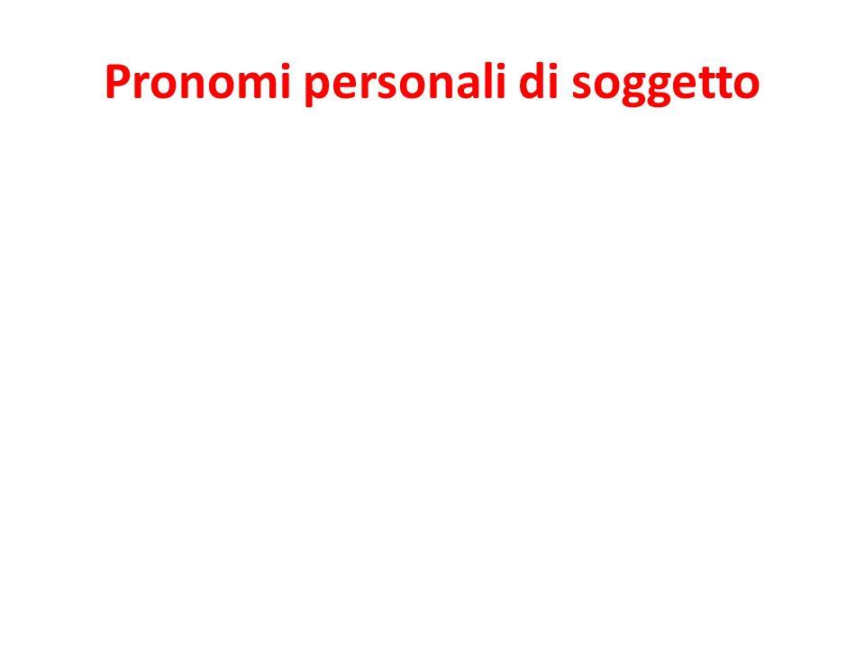 io tu lui lei Lei noi voi loro In Italian, they are usually omitted.