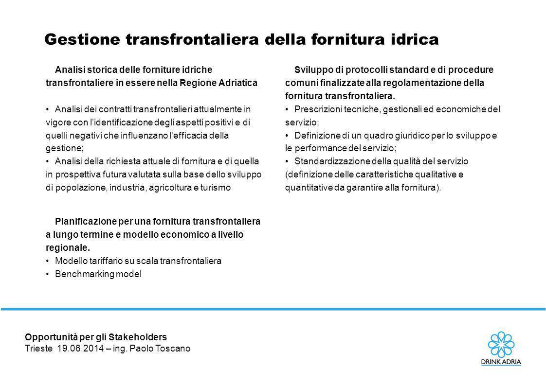 Opportunità per gli Stakeholders Trieste 19.06.2014 – ing. Paolo Toscano
