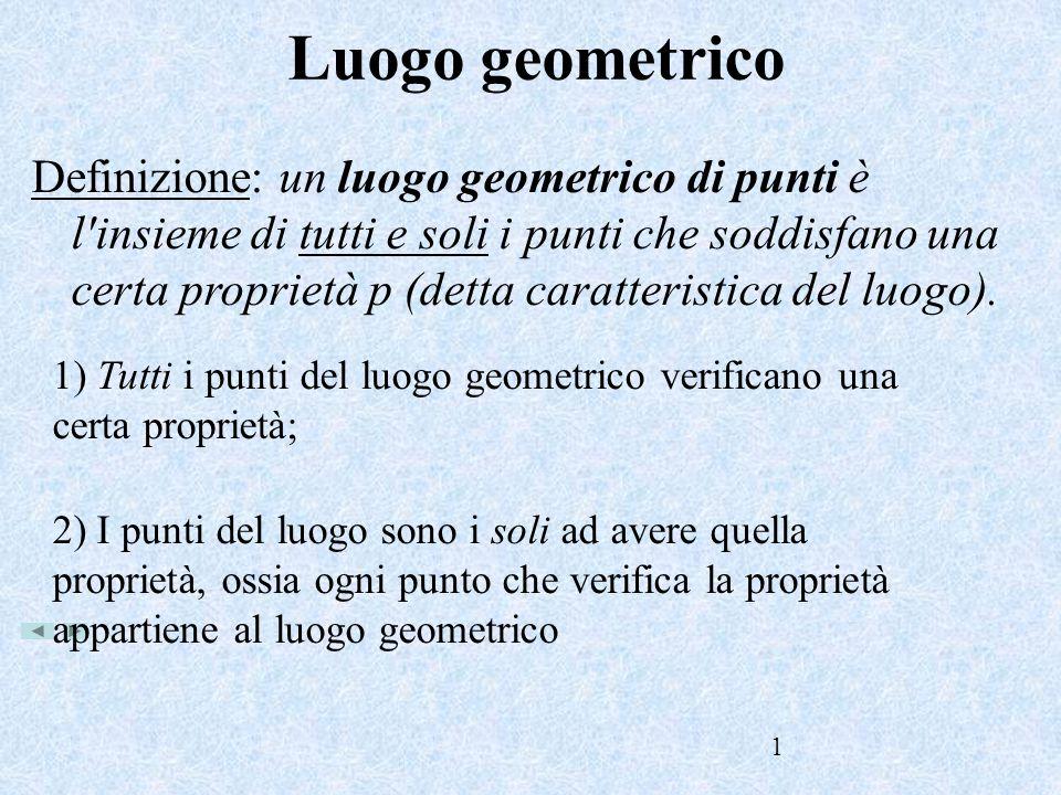 1 Luogo geometrico Definizione: un luogo geometrico di punti è l'insieme di tutti e soli i punti che soddisfano una certa proprietà p (detta caratteri